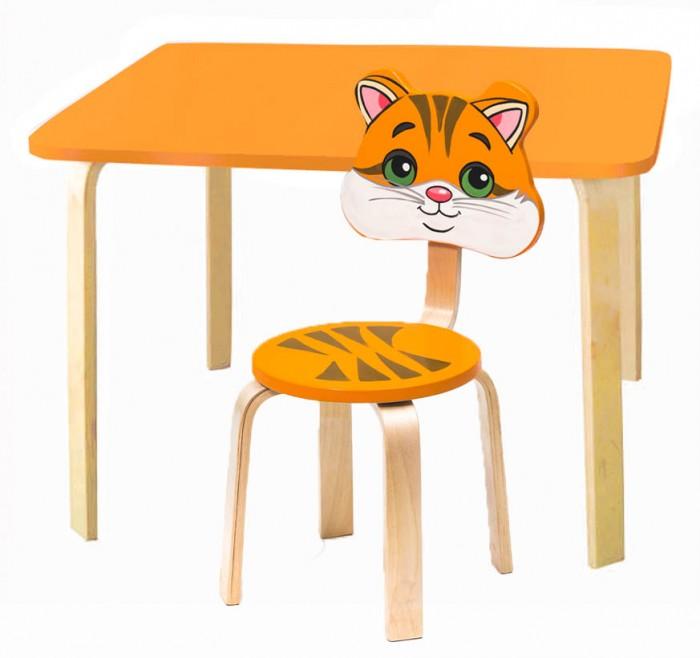 Polli Tolli Комплект детской мебели Мордочки с оранжевым столикомДетские столы и стулья<br>Polli Tolli Комплект детской мебели Мордочки с оранжевым столиком отлично подойдёт для Вашего малыша. Набор состоит из стула и стола, произведенных из МДФ высокой плотности и гнутоклеенной фанеры. Веселые и яркие картинки делают серию уникальной и востребованной. Различные цвета позволяют подобрать мебель для любого интерьера детской комнаты.   Столешница столика, сиденье и спинка стульчика серии Мордочки выполнены из легкого МДФ, а ножки из гнутоклеенной фанеры. Легкий вес комплекта позволит малышу самостоятельно перемещать его. Стол и стул расписан красками с использованием УФ-печати и покрыт глянцевым лаком. Комплект предназначен для детей дошкольного возраста.   Особенности:  Размер стола: 73 x 54 x 9 см Размер стула: 30 х 10 х 30 см