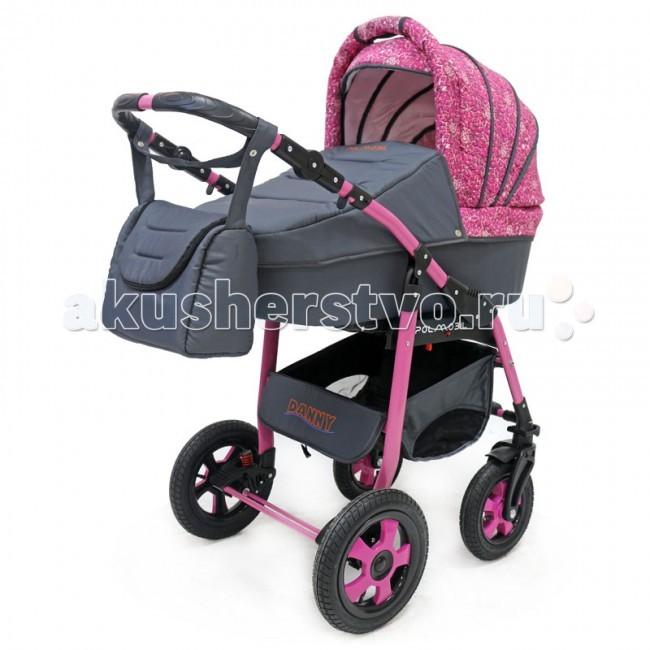 Коляска Polmobil Danny 2 в 1Danny 2 в 1Коляска Polmobil Danny 2 в 1 предназначена для детей с рождения и до 3-х лет.  В комплект коляски входит спальная люлька для новорожденного и прогулочный блок для подросшего малыша, которые можно устанавливать по ходу движения или против хода движения. Люлька коляски комфортная и удобная, сделана внутри из 100 % хлопка. Дно люльки – жесткое, это очень важно для правильного формирования позвоночника новорожденного малыша.  Прогулочное сидение легко устанавливается на раму, имеет пятиточечные ремни безопасности, съемный бампер, регулируемое положение спинки. Для удобства родителей предусмотрены регулировка высоты ручки, корзина для покупок и сумка для мамы.   Колеса надувные, камерные, с современной системой амортизации. Передние поворотные колеса с фиксатором делают эту модель коляски маневренной и легкоуправляемой. Задние колеса, обеспечивают хорошую проходимость и позволяют преодолевать любые препятствия по бездорожью на прогуле. Ширина колесной базы позволяет с легкостью входить в стандартные лифты и двери, что не вызовет трудностей с транспортировкой коляски.   Яркая расцветка коляски – порадует родителей и малыша.   Рама коляски цветная – это выглядит эффектно!   Люлька Danny:  • Непромокаемая тканевая люлька с жестким дном • Регулируемый по высоте подголовник • Удобная ручка для переноски, расположенная на капюшоне • Бесшумный механизм регулировки капюшона • Внутренняя вкладка выполнена из 100% хлопка, легко снимается для стирки • Возможность установки люльки в 2 положениях (лицом к маме, или лицом по направлению движения коляски) • Размеры внутренние люльки (ДхШхВ): 76х35х17 см.  • Вес: 4.73 кг.   Прогулочный блок Danny:  • Три положения регулировки спинки, в том числе до горизонтального • Регулируемая подножка • Регулируемый капюшон • Съемный бампер • Возможность установки прогулочного блока в 2 положениях (лицом к маме, или лицом по направлению движения коляски) • Размеры сиденья (ШхГхВ): 31х23х41 см.  • Длина подножки 