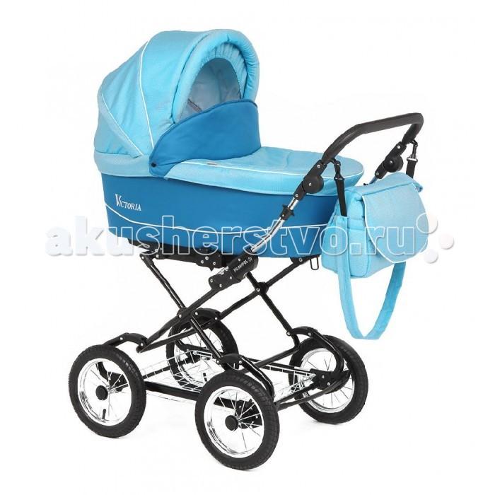 Коляска Prampol  Victoria 2 в 1Victoria 2 в 1Детская коляска Prampol Victoria - это универсальная коляска 2 в 1 с огромной люлькой для новорожденного. Удобная и комфортная коляска для самых маленьких карапузов. Модель имеет вместительную люльку с внутренней обивкой из натурального 100% хлопка. Внешняя отделка коляски выполнена из материала под лен. Для обеспечения максимального удобства ребенку спинка и подножка регулируются по высоте. Пятиточечные ремни безопасности имеют мягкие накладки и надежно фиксируют ребенка во время прогулки. Регулируемая по высоте ручка снабжена накладкой из эко-кожи. Управлять коляской легко, благодаря надувным колесам все неровности дорог преодолеваются без особых усилий.  Прогулочное сиденье: большое и удобное сиденье (45х88 см) пятиточечные ремни безопасности устанавливается в обоих направлениях движения  Люлька: светоотражающие элементы чехол на ножки защита от насекомых функция укачивания спинка регулируется в четырех положениях хлопковый матрасик  Шасси: регулируемая по высоте ручка комфортная подвеска на рессорах колеса пневматические на подшипниках защита от случайного складывания размер в сложенном виде - 58х86.5х53 см  В комплекте: корзина для покупок люлька прогулочный блок москитная сетка накидка для ног меховой спальный конверт<br>