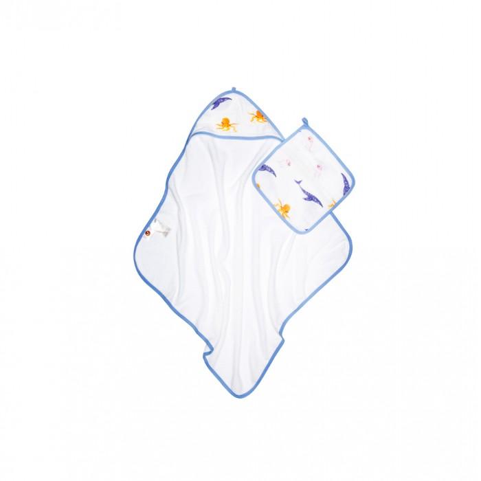 Купить Полотенца, Qwhimsy Полотенце детское махровое с уголком + полотенце муслиновое для лица Океан