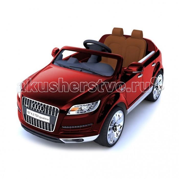 """Электромобиль R-Toys Audi Q7Audi Q7Детский двухместный электромобиль AUDI Q7 по лицензии известного автоконцерна выполнен по стилю легендарного внедорожника AUDI Q7 Quattro. Двухскоростной джип с пультом радиоуправления для двоих детей. Отличие этой модели от других – мягкие колеса+чехол на сиденье из перфорированной экокожи.   AUDI Q7 – одна из самых популярных моделей среди автолюбителей. Откройте для себя авто последнего поколения AUDI - изящный и роскошный! Все так реалистично выполнено: ветровое оргстекло, боковые зеркала, руль, диски, хромированная отделка, решетка радиатора, неоновая подсветка, реалистичная приборная панель в салоне- все повторяет настоящий автомобиль. Большие размеры автомобиля и два посадочных места позволят Вашему ребенку приглашать в поездку своих друзей.   Благодаря встроенному FM-радио с авто-настройкой, MP3, с любимой музыкой Вам не придется скучать в дороге и катание превратится в веселую вечеринку. Электромобиль оборудован амортизаторами на колесах, что позволить плавно преодолевать любые неровности дорог, можно подниматься по горным дорожкам, ездить по гравию и камням, не бояться ям и кочек.   Ремни безопасности сделают это катание максимально безопасным.  Приводится в движение нажатием ногой на педаль – все как в настоящем авто. Едет вперед - назад, 2 скорости.  Лицензия сыграла роль в профессиональной покраске электромобиля - все как на взрослых реальных автомобилях. Очень красивая автомобильная покраска с металлическим блеском будет необыкновенно переливаться на солнце. Покраска кузова защищена слоем лака, что придает блестящий вид или эффект металлика. Это шикарное покрытие придает автомобилю по-настоящему дорогой и солидный вид. Лицензионная копия Audi Q7 максимально приближена к своему оригиналу.  Оборудовано кнопкой """"Низкая скорость""""/""""Высокая скорость"""", которая используется для изменения скорости движения транспортного средства на 3 км/ч и 7 км ч.  Этот автомобиль оснащен разъемом для """"USB"""", а также слот для вставки """"SD"""" карт"""