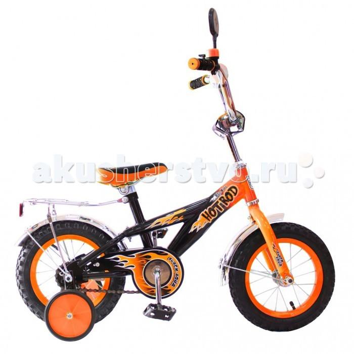 Велосипед двухколесный R-Toys BA Hot-Rod 12BA Hot-Rod 12Двухколесный велосипед BA Hot-Rod 12 с боковыми колесами на усиленных кронштейнах. Ребенку проще привыкнуть к габаритам двухколесной модели, если она имеет дополнительные колесики для устойчивости. Когда рулевое управление будет доведено до совершенства, можно переходить к тренировкам поддержания равновесия на велосипеде без боковых колес.  Особенности велосипеда: прочная стальная рама стойкое антикоррозийное покрытие рамы удлиненные стальные крылья обод стальной руль ВМХ, по центру - мягкая накладка съемные боковые колеса с жесткой прорезиненной поверхностью усиленный кронштейн боковых колес надувные 12-дюймовые колеса на подшипниках количество скоростей - 1 защитный кожух на велоцепи тормоз задний ножной багажник-хром зеркало заднего вида на гибкой ножке звонок на руле<br>