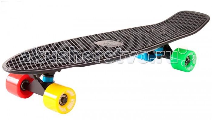 R-Toys Скейтборд Big Fishskateboard 27Скейтборд Big Fishskateboard 27Y-Scoo Скейтборд Big Fishskateboard 27 с сумкой - уникальное средство передвижения по городу и отличный способ заявить о себе в скейтпарке.  Особенности: Сочетает в себе компактность, комфорт, отличную управляемость и является отличным способом времяпровождения для людей всех возрастов. Дека сделана из высокопрочного, гибкого винилового пластика и имеет рисунок в виде сот на рифленой поверхности. Это обеспечивает повышенную устойчивость и безопасность во время катания на скейтборде, такой рисунок не даст ногам райдера соскальзывать во время катания.  Такая доска универсальна и подойдет для любого стиля катания.  Тип - скейтборд с конкейвом. Конкейв (concave)- загнутость доски по всей её длине по бокам, а также угол подъёма носа и хвоста. Чем глубже конкейв, тем лучше чувствуется доска во время трюков, легче закручивается и легче приземляться. Чем короче хвост (или нос) и чем больше у него угол подъёма, тем выше получается ollie, чем длиннее, тем легче делать nose и tailslide.  Длина деки: 68,6 см, ширина: 19 см. Высокопрочная подвеска из алюминиевого сплава покрытая высокотехнологичной краской - 8 см. Двойной концевой загиб Double Kick.  Амортизаторы жесткостью 82А.  Подшипник  ABEC 7 Chrome. Никелированные болты.  Колёса полиуретановые: PU - Super High Rebound колеса 60х45 мм, жесткость 82А.  Очень важно в колесах: чем больше жесткость, тем больше скорость. Монтажные болты, покрытые специальной краской, гайки с супермягкими прокладками.  Небольшой вес скейтборда делают его маневренным и легким в транспортировке. Его можно брать с собой повсюду.<br>