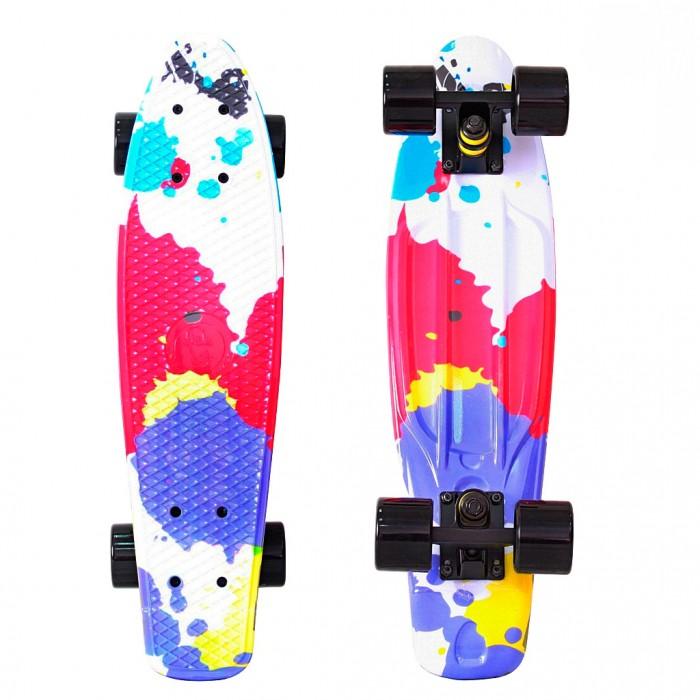 R-Toys Скейтборд Fishskateboard Print 22Скейтборд Fishskateboard Print 22Y-Scoo Скейтборд Fishskateboard Print 22 с сумкой - уникальное средство передвижения по городу и отличный способ заявить о себе в скейтпарке.  Особенности: Сочетает в себе компактность, комфорт, отличную управляемость и является отличным способом времяпровождения для людей всех возрастов. Дека сделана из высокопрочного, гибкого винилового пластика и имеет рисунок в виде сот на рифленой поверхности. Это обеспечивает повышенную устойчивость и безопасность во время катания на скейтборде, такой рисунок не даст ногам райдера соскальзывать во время катания.  Такая доска универсальна и подойдет для любого стиля катания.  Тип - скейтборд с конкейвом. Конкейв (concave)- загнутость доски по всей её длине по бокам, а также угол подъёма носа и хвоста. Чем глубже конкейв, тем лучше чувствуется доска во время трюков, легче закручивается и легче приземляться. Чем короче хвост (или нос) и чем больше у него угол подъёма, тем выше получается ollie, чем длиннее, тем легче делать nose и tailslide.  Длина деки: 57 см, ширина: 15 см.  Высокопрочная подвеска из алюминиевого сплава покрытая высокотехнологичной краской - 8 см.  Двойной концевой загиб Double Kick.  Амортизаторы жесткостью 82А.  Подшипник ABEC 7 Chrome. Никелированные болты.  Колёса полиуретановые: PU - Super High Rebound колеса 60х45 мм, жесткость 82А. Очень важно в колесах: чем больше жесткость, тем больше скорость. Монтажные болты, покрытые специальной краской, гайки с супермягкими прокладками.  Небольшой вес скейтборда (всего 1,8 кг) делают его маневренным и легким в транспортировке. Е Максимальная нагрузка 100 кг. Размер: 56,6х15 см<br>