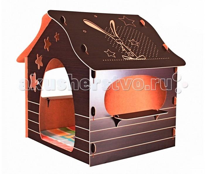 """R-Toys Игровой домик Mouse HouseИгровой домик Mouse HouseИгровой домик R-Toys Mouse House-это не просто домик, это большая разукрашка - рисовать можно везде и всем: мелками, карандашами, фломастерами и красками! Но самое ценное в том, что все нарисованное можно стирать тряпочкой и рисовать заново. А еще есть 2 широких подоконника на окнах в домике, на которых можно расположить листок и тоже рисовать. Эти функциональные особенности домика позволят детям увлеченно проводить время.   Все панели домика с одной стороны покрыты ламинированным слоем """"под дерево"""", имитирующим фактуру древесины. Поверхность можно легко протирать. С другой стороны, которая находится внутри домика, поверхность выглядит как гладкий картон. Эту поверхность также легко протирать.  Все детали домика идеальны по форме- они вырезаны автоматическим способом ларезной резки и имеют идеальные края. Вашему малышу занозы не страшны. Четкая лазерная резка деталей создает безопасные торцы. Все края и выступающие части домика разработаны с учетом безопасности и скруглены для полной безопасности.  Система сборки CLICK собирается как конструктор """"без единого болта"""", в течении нескольких минут. Все элементы домика соединяются между собой по системе """"До щелчка"""". Вставьте деталь в пазы и зафиксируйте. Инструменты не нужны! Сборка/разборка домика не требует специальных профессиональных навыков. Собрать домик MOUSE HOUSE сможет и мама. Конструкция очень устойчива, но при этом легка и мобильна. В разобранном виде все детали домика- это небольшая стопка листов МДФ высотой чуть более 10 см. Очень удобно при хранении- занимает очень мало места.  У домика - два больших овальных окна с широкими подоконниками. Дверь красиво обрамлена большими прозрачными звездами, которые при попадании света на них как трафарет отражаются на внутренней стене домика. Ваш малыш может обрисовать эти звезды и разукрасить их. А каким волшебным домик становится вечером, если поместить в него ночник. Это магия!   Одна из важных особенностей доми"""