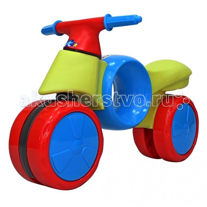 Беговел R-Toys Kinder WayKinder WayБеговел R-Toys Kinder Way поможет малышу держать равновесие, а так же развивает моторику ребенка!   Управляя беговелом, малыш сможет самостоятельно кататься, не нуждаясь в постоянном родительском контроле, параллельно развивать опорно-двигательную систему и координацию тела. Сидя на удобном сидении и перебирая ножками по полу/земле малыш передвигается. Полиуретановые большие колеса обеспечивают большую устойчивость и безопасность.   Уникальность этого беговела- сдвоенная система колес. Колес как- будто 2, но на самом деле- их 4. Они сдвоены и соединены специальных прочным хомутом, который обеспечивает дополнительную устойчивость колесам. Самое главное в этом беговеле- эргономика форм и размеров. Конструкция беговела сделана таким образом, что он полностью защищен от переворачивания или других происшествий на дороге. Беговел идеально подойдет детям от 18 месяцев. Малыш почувствует как удобно и легко управлять этим беговелом, оценит устойчивость беговела, а дизайн покорит его в первого взгляда, потому что эта каталка не похожа на другие- посредине очень красивый сквозной круг, с помощью которого можно легко переносить беговел. Сиденье очень широкое и имеет антискользящую поверхность.    Особенности: высота сиденья 27 см  высота до руля 39 см  диаметр колес 20 см общая длина 65 см ширина 14 см<br>