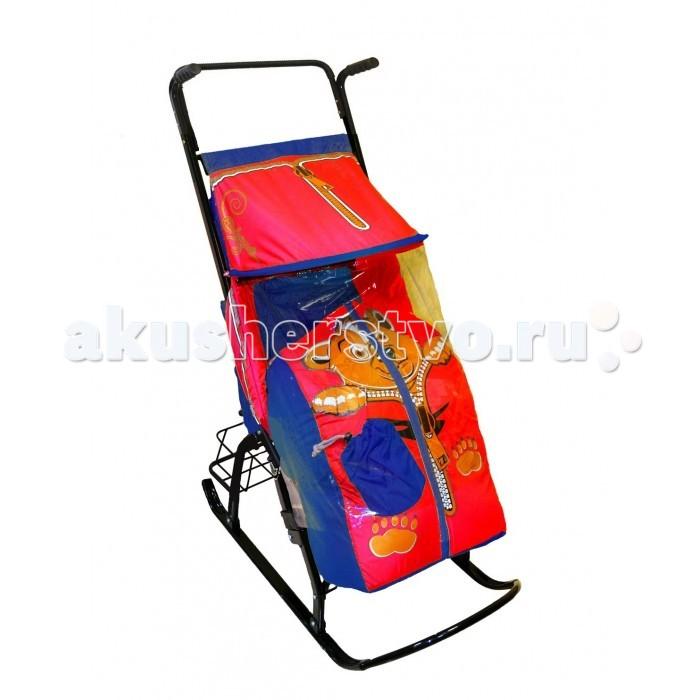 Санки-коляска R-Toys Снегурочка  Медвежонок 42-Р с корзинкой