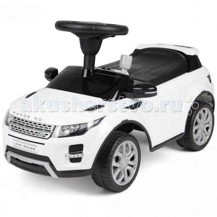 Каталка R-Toys Land Rover Evoque свет/звукLand Rover Evoque свет/звукКаталка R-Toys Land Rover Evoque свет/звук  В раннем возрасте ребенку очень сложно долгое время сидеть на одном месте, поэтому он предпочитает передвигаться на различных видах детского транспорта. Но намного интереснее крохе будет поражать окружающих своей яркой каталкой, напоминающей шикарный автомобиль.  Особенности: Стильный дизайн этой каталки непременно привлечёт внимание детей, ведь она очень похожа на настоящий автомобиль марки Land Rover Evoque. Корпус изделия, светящиеся во время езды фары и радиаторная решетка добавляют транспортному средству дополнительную реалистичность. Малыш самостоятельно будет приводить каталку в движение, крутя руль и отталкиваясь ножками. А поднимать настроение крохе во время поездки будет музыкальное сопровождение, предусмотренное в данной модели, которое активируется нажатием кнопки на руле. Выполненные из прорезиненного пластика широкие колеса дополнены глубокими рельефными протекторами, обеспечивающими повышенную проходимость. Оптимальный (неполный) угол поворота колес сделает езду одновременно безопасной и манёвренной. Форма сиденья с бортиком в задней части выполнена с учетом анатомии детей, а рельефные узоры на нем помогут крохе не соскальзывать. Устойчивая конструкция каталки не позволит ей перевернуться во время катания, а выступающие наружу широкие края защитят ездока от брызг. Рама изделия выполнена из пластика повышенной прочности, которому не страшны удары, и он не деформируется при столкновении с препятствием. Каталка станет любимым средством передвижения ребёнка на прогулке, а также поможет ему научиться управлять своим телом и поддерживать равновесие.  Размер 66х30 от пола до руля 32 см до сиденья 24 см Максимальная весовая нагрузка: 20 кг<br>