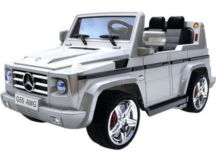 Электромобиль R-Toys Mercedes-Benz AMGMercedes-Benz AMGR-Toys DMD-G55 Mercedes-Benz AMG 12V является лицензионной копией легендарного и всеми известного автомобиля Mercedes G-Wagen от компании Mercedes, детская копия полностью повторяет взрослый джип, этот электромобиль изготовлен под контролем инженеров завода Mercedes. Электромобиль с двумя двигателями - мощный как оригинальный автомобиль.  Описание: Мотор - 2 шт. по 30W Аккумулятор - 12V/7Ah Движение вперед/назад, налево/направо Есть разъем для MP3-плеера Возможно использование с 2-мя детьми Удобные сидения с подголовниками Светящиеся передние фары и звуковой сигнал на руле Зеркала складываются Ветровое стекло Есть опция движения с нарастающим ускорением Развивает скорость до 3,5-4,5 км/ч В спорт-режиме развивает скорость до 8-9 км/ч за 4 секунды Комплектуется пультом дистнационного управления с радиусом действия 30 метров Для того, чтобы завести машинку нужно вставить ключ зажигания Время работы аккумулятора - 1-1,5 часа Корпус автомобиля выполнен из усиленного, закаленного полипропилена - противоударный и долговечный материал Верхнее покрытие - экологически чистая краска  Реалистичные колесные диски из подобного оригиналу сплава Прочное, стальное основание Максимальная нагрузка - 50 кг В комплекте - ПДУ, зарядное устройство 220В, аккумуляторная батаеря, 2 мотора<br>