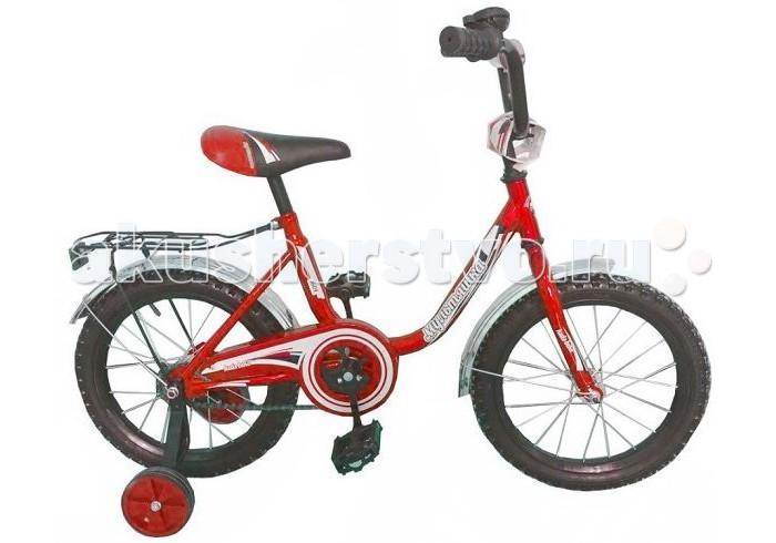 Велосипед двухколесный R-Toys Мультяшка 1604 16Мультяшка 1604 16Двухколесный велосипед Мультяшка 1604 16 с боковыми колесами на усиленных кронштейнах. Ребенку проще привыкнуть к габаритам двухколесной модели, если она имеет дополнительные колесики для устойчивости. Когда рулевое управление будет доведено до совершенства, можно переходить к тренировкам поддержания равновесия на велосипеде без боковых колес.  Особенности велосипеда: прочная стальная рама стойкое антикоррозийное покрытие рамы удлиненные стальные крылья обод стальной руль ВМХ, по центру - мягкая накладка съемные боковые колеса с жесткой прорезиненной поверхностью усиленный кронштейн боковых колес надувные 16-дюймовые колеса на подшипниках количество скоростей - 1 защитный кожух на велоцепи тормоз задний ножной багажник звонок на руле<br>