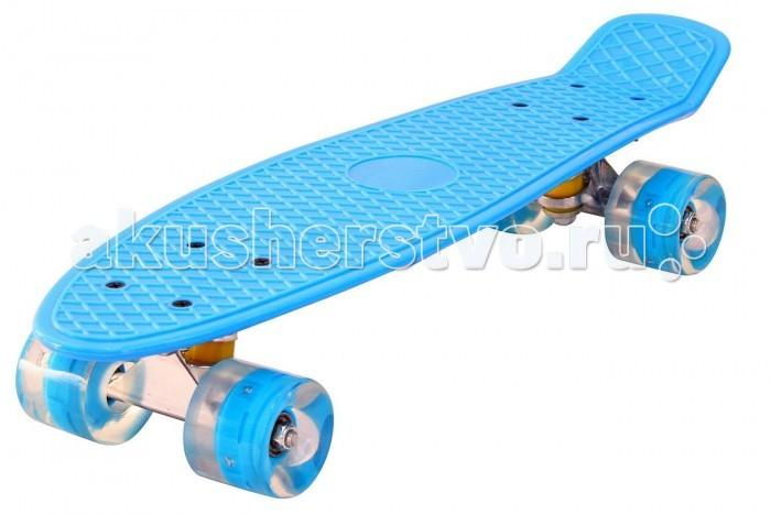 R-Toys Скейтборд Classic Yqhj-11 пластик со светящимися колесами 22Скейтборд Classic Yqhj-11 пластик со светящимися колесами 22R-Toys Скейтборд Classic Yqhj-11 пластик со светящимися колесами 22 - уникальное средство передвижения по городу. Сочетает в себе компактность, комфорт, отличную управляемость и является отличным способом времяпровождения для людей всех возрастов. Дека сделана из высокопрочного, гибкого винилового пластика и имеет рисунок в виде сот на рифленой поверхности. Это обеспечивает повышенную устойчивость и безопасность во время катания на скейтборде, такой рисунок не даст ногам райдера соскальзывать во время катания. Небольшой вес скейтборда (всего 2 кг) делают его маневренным и легким в транспортировке.    Тип - скейтборд с конкейвом. Конкейв (concave) — загнутость доски по всей её длине по бокам, а также угол подъёма носа и хвоста. Чем глубже конкейв, тем лучше чувствуется доска во время трюков, легче закручивается и легче приземляться. Чем короче хвост (или нос) и чем больше у него угол подъёма, тем выше получается ollie, чем длиннее, тем легче делать nose и tailslide.    Особенности:  Высокопрочная подвеска из алюминиевого сплава Двойной концевой загиб Double Kick Амортизаторы жесткостью 92А Подшипник: ABEC-7 Колёса полиуретановые светящиеся: PU - Super High Rebound колеса 60 х 45 мм, жесткость 90А. Очень важно в колесах: чем больше жесткость, тем больше скорость. Монтажные болты, гайки с PU вставками 3,15 мм PVC прозрачная прокладка  Максимальная нагрузка: 40 кг<br>