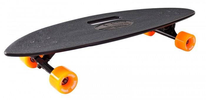 R-Toys Скейтборд Longboard Shark с ручкой 31Скейтборд Longboard Shark с ручкой 31Y-Scoo Скейтборд Longboard Shark с ручкой 31 с сумкой - уникальное средство передвижения по городу и отличный способ заявить о себе в скейтпарке.  Особенности: Необыкновенная форма деки c прорезью-ручкой для переноски скейтборда.  Этот необычный лонгборд имеет антискользящую поверхность - наждачная бумага сверху пластиковой деки. Это обеспечивает повышенное сцепление с поверхностью деки и безопасность во время катания на скейтборде. Такое покрытие не даст ногам райдера соскальзывать во время катания.  Лонгбординг не только захватывающий вид спорта, способный подарить непередаваемые ощущения, но и довольно экстремальное и травматическое увлечение.  Этот круизер отличается особой устойчивостью и стабильностью при развитии высоких скоростей, а высокое качество позволит Вам избежать непредвиденных поломок и, соответственно, лишних царапин и ушибов.  Черная дека под названием Акула в сочетании с ярко-оранжевыми колесам и черными подвесками станет отличным выбором для людей не знающих страха, любящих адреналин, скорость и свободу.  акая доска универсальна и подойдет для любого стиля катания.  Чем глубже конкейв, тем лучше чувствуется доска во время трюков, легче закручивается и легче приземляться. Чем короче хвост (или нос) и чем больше у него угол подъёма, тем выше получается ollie, чем длиннее, тем легче делать nose и tailslide.  Длина деки: 79 см, ширина: 22 см.  Высокопрочная подвеска из алюминиевого сплава покрыта высокотехнологичной краской - 15 см.  Амортизаторы жесткостью 82А.  Подшипник  ABEC 7 Chrome. Никелированные болты.  Колёса полиуретановые: PU - Super High Rebound колеса 65х47 мм, жесткость 82А. Очень важно в колесах: чем больше жесткость, тем больше скорость. Монтажные болты, покрытые специальной краской, гайки с супермягкими прокладками 90А.  Небольшой вес скейтборда делают его маневренным и легким в транспортировке.  Максимальная нагрузка 150 кг.  В комплекте - черная сумка