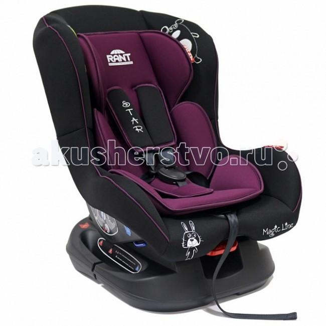 Автокресло Рант StarStarДетское автокресло Рант Star - предназначено для детей с рождения и до 18 кг. (приблизительно до 4-х лет).  Автокресло может устанавливаться как по ходу движения, так и против хода движения. Для новорожденного малыша (0+,9 кг.) автокресло фиксируется в автомобиле против хода движения (малыш лицом назад) пока малыш научится хорошо сидеть. С 7-8 месяцев автокресло фиксируется лицом вперед и эксплуатируется приблизительно до 4-х лет (9+,18 кг.)   Удобное сидение анатомической формы с мягким матрасиком делает кресло удобным, комфортным и безопасным для малышей. Усиленная мягкая боковая защита обеспечит безопасность и защитит ребенка от ударов при боковых столкновениях.  Спинка автокресла имеет регулировку наклона в 3-х положениях. Положение наклона спинки автокресла для комфортного сна в длительных поездках легко регулируются одной рукой при помощи специального рычажка, расположенного в передней части автокресла под чехлом.  Автокресло оснащено 5-ти точечными ремнями безопасности с мягкими плечевыми накладками (уменьшают нагрузку на плечи малыша). Накладки обеспечивают плотное прилегание и надежно удержат малыша в кресле в случае ударов. Ремни удобно регулировать под рост и комплекцию ребенка без особых усилий.  Автокресло Star имеет прочную базу, позволяющую устанавливать кресло не только в автомобиле, но и на других ровных твердых поверхностях.  Съемный чехол автокресла Star изготовлен из гипоаллергенной эластичной ткани, легко чистится и стирается вручную или в деликатном режиме в стиральной машине при температуре 30 градусов.   Крепление и установка: Установка автокресла возможно в двух положениях: против хода движения (если малышу от 0 до 7-8 месяцев) или по ходу движения (если малышу от 7-8 месяцев и до 4-х лет). Кресло легко и быстро крепиться в автомобиле с помощью штатных ремней безопасности. Правильность прохождения ремней безопасности обеспечивается специальными направляющими «зацепками», предусмотренными по бокам автокресла.   Безопас