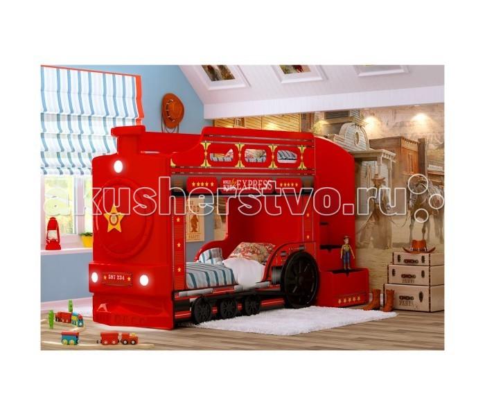 Детская кроватка Red-River двухъярусная Паровоздвухъярусная ПаровозДетская кроватка Red-River двухъярусная Паровоз   Если у вас двое детей, то двухъярусная кровать может стать отличным решением для обустройства их детской комнаты. Особенно, если эта кровать будет обладать ярким дизайном, который привлечет детское внимание. А если эта кровать сама будет представлять собой паровоз, то любой малыш уж точно придет в восторг.  Особенности: яркий и стильный дизайн, реалистичные рисунки устойчивая и прочная конструкция безопасные для детского здоровья и экологически чистые материалы светодиодные фары входит USB проигрыватель изображение с разрешением 1440 dpi подходит под матрасы размером 160х70 или 170х70 см (по желанию) лестница с 4-мя выдвижными ящичками  лестница устанавливается слева или справа (по желанию) ортопедическое основание влагостойкое ламинированное покрытие  Высота борта второго яруса - 25 см от матраса Рекомендованная высота матраса 8 см<br>
