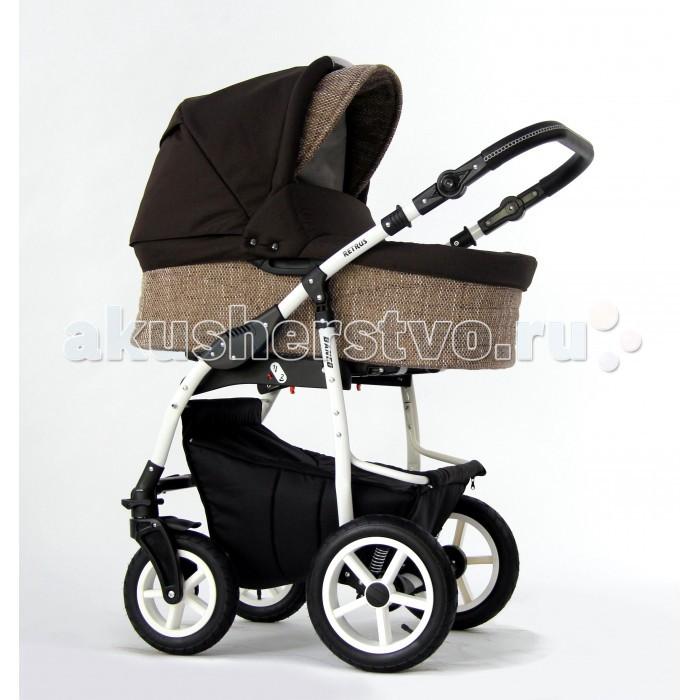 Коляска Retrus  Danco Eco 2 в 1Danco Eco 2 в 1Коляска Retrus Danco Eco 2 в 1 безупречная коляска, которая легко управляется, имеет отличную амортизацию, прочность конструкции, много полезных функций для родителей.   Ваш ребенок будет спать в коляске, даже по самой неровной дороге. Оба блока можно устанавливать по ходу и против хода движения на раму коляски.  Особенности Retrus Danco: Наружная обивка блоков выполнена из непромокаемой ткани  Блоки устанавливается: спиной и лицом к маме Ручка регулируется по углу наклона, выполнена из эко-кожи (высоте)  Прогулочный блок оснащен пятиточечными ремнями с мягкими накладками и надежным замком Удобная и практичная система крепления сменных блоков к шасси рамы. Передние/задние колеса: надувные Ударопрочные диски колес, с подшипниками Передние колеса коляски - поворотные  Рама крашенная в белый или черный цвет  Механизм складывания рамы: книжка  Материал обивки люльки: внутри – 100% хлопок, снаружи – водостойкая ткань Закрытая корзина для покупок на молнии Все элементы, где ребенок может испачкать коляску: подножница, поручень прогулочного блока – обиты защитной ПВХ пленкой.   Размеры: Люлька: 83х39х30 см Ширина колесной базы: 58 см  Вес с люлькой: 12 кг.  Вес с прогулкой: 10 кг. В комплект входит: Люлька с жестким дном, кокосовый матрасик Прогулочный блок, регулируемый в 5 углах наклона спинки Накидка на ноги (для прогулочного блока) Солнцезащитный козырек (вшитый у люльки) Дождевик, москитная сетка, вместительная сумочка для мамы Корзина для продуктов из ткани, на молнии закрывается<br>