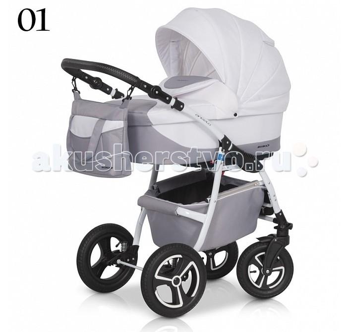 Коляска Riko Angelo 2 в 1Angelo 2 в 1Коляска Riko Angelo 2 в 1 - универсальная детская коляска Angelo 2 в 1 от Польского производителя Riko предназначена для детей с рождения и до 3-х лет.   В комплект коляски входит спальная люлька для новорожденного и прогулочный блок для подросшего малыша, которые можно устанавливать по ходу движения или против хода движения. Люлька коляски  комфортная и удобная, сделана внутри из 100 % хлопка. Дно люльки – жесткое, это очень важно для правильного формирования позвоночника новорожденного малыша.   Прогулочное сидение легко устанавливается на раму, имеет пятиточечные ремни безопасности, съемный бампер, регулируемое положение спинки. Для удобства родителей предусмотрены регулировка высоты ручки, корзина для покупок и сумка для мамы.   Колеса надувные, камерные, с современной системой амортизации. Передние поворотные колеса с фиксатором делают эту модель коляски маневренной и легкоуправляемой. Задние колеса, обеспечивают хорошую проходимость и позволяют преодолевать любые препятствия по бездорожью на прогуле.  Особенности:   Люлька Angelo:  Непромокаемая тканевая люлька с жестким дном  Регулируемый по высоте подголовник  Вентилируемое смотровое окошко в капюшоне  Удобная ручка для переноски, расположенная  на капюшоне  Регулируемый капюшон  Внутренняя вкладка выполнена из 100% хлопка, легко снимается для стирки  Матрац  для новорожденного  Возможность установки люльки в 2 положениях (лицом к маме, или лицом по направлению движения коляски).   Размеры внутренние люльки:  Ширина 35 см  Длинна 77 см  Глубина 23 см   Прогулочный блок Angelo:  3 положения регулировки спинки, в том числе до горизонтального  Регулируемая подножка  Регулируемый капюшон   Возможность установки прогулочного блока в 2 положениях (лицом к маме, или лицом по направлению движения коляски).  Размеры прогулочного блока:  Ширина 34 см  Глубина 24 см   Рама и колеса Angelo:  Удобный и простой механизм складывания коляски  Легкий и простой механизм снятия и установки 