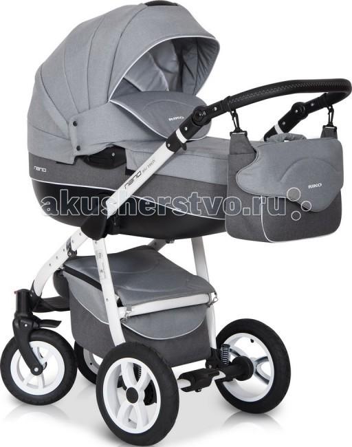Коляска Riko Nano 2 в 1Nano 2 в 1Коляска Riko Nano 2 в 1 - элегантная коляска с неповторимым дизайном для детей от рождения до 3-х лет. Многофункциональная транспортная система Riko Nano 2 в 1, обеспечивающая комфорт и безопасность на прогулках с Вашим ребенком. Детская универсальная коляска изготовлена с использованием высококачественных легких дышащих текстильных материалов, имеет небольшой вес и отличную маневренность на дороге.  Люлька Riko: Просторная пластиковая люлька Обивка и матрасик выполнены из 100% хлопка Верхняя часть из водонепраницаемой ткани Регулируемый подголовник Жесткое дно Можно использовать как люльку-качалку в домашних условиях На капюшоне ручка для переноски Утепленный капюшон с вентиляционным окошком Возможность установки в 2 положениях (лицом к маме , либо лицом по направлению движения) Размеры внутренние: длина 80 см, ширина 37 см, высота 22 см. Вес 5.2 кг  Прогулочный блок Riko: Четыре положения регулировки спинки , вплоть до лежачего Регулируемая подножка Съемный бампер Возможность установки в 2 положениях (лицом к маме , либо лицом по направлению движения) Размеры сиденья: ширина 32 см, глубина 25 см, высота спинки 41 см, длина подножки 18 см. Вес 5.2 кг.  Шасси Riko: Алюминиевая рама Простой механизм складывания и раскладывания коляски Система складывания - книжка Ручка обтянута эко-кожей с возможностью регулировки по высоте Амортизаторы с регулировкой жесткости Колеса надувные на подшипниках Центральный тормоз Большая закрытая корзина для покупок Регулировки ручки (от земли) : 77 см - 121 см  Размеры: Разложенная рама с колесами: длина 101 см, ширина 59 cм, высота 112 см Вес: рама 9 кг, рама+люлька 14.2 кг, рама+прогулочный блок 14.2 кг  Коляска может комплектоваться насосом, наличие зависит от поставки!<br>