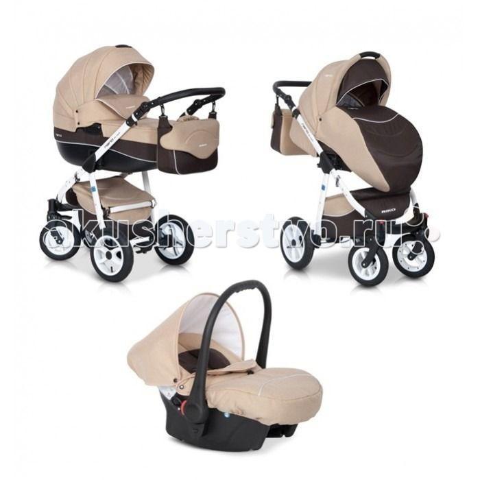 Коляска Riko Nano 3 в 1Nano 3 в 1Коляска Riko Nano 3 в 1. Элегантная коляска с неповторимым дизайном для детей от рождения до 3-х лет. Многофункциональная транспортная система, обеспечивающая комфорт и безопасность на прогулках с Вашим ребенком.  Детская универсальная коляска изготовлена с использованием высококачественных легких дышащих текстильных материалов, имеет небольшой вес и отличную маневренность на дороге.  Люлька Riko: Просторная пластиковая люлька Обивка и матрасик выполнены из 100% хлопка Верхняя часть из водонепроницаемой ткани Регулируемый подголовник Жесткое дно Можно использовать как люльку-качалку в домашних условиях На капюшоне ручка для переноски Утепленный капюшон с вентиляционным окошком Возможность установки в 2 положениях (лицом к маме , либо лицом по направлению движения) Размеры внутренние: длина 80 см, ширина 37 см, высота 22 см. Вес 5.2 кг  Прогулочный блок Riko: Четыре положения регулировки спинки , вплоть до лежачего Регулируемая подножка Съемный бампер Утепленный чехол на ножки Возможность установки в 2 положениях (лицом к маме , либо лицом по направлению движения) Размеры сиденья: ширина 32 см, глубина 25 см, высота спинки 41 см, длина подножки 18 см. Вес 5.2 кг.  Детское автомобильное кресло Riko: Вес ребенка От 0 до 13 кг (группа 0+) Соответствует европейскому стандарту безопасности ЕСЕ R44/04 Устанавливается в автомобиле при помощи штатных ремней безопасности Положение в автомобиле: спиной вперед (делается для того, чтобы при резком торможении автомобиля ребенок не повредил еще не окрепшую шейку) Трехточечные ремни безопасности с мягкими плечевыми накладками Удобная форма автокресла позволяет совершать длительные поездки Оборудовано специальными ножками для укачивания, что позволяет использовать автокресло как качалку Обивка снимается и стирается при температуре 30 градусов в режиме деликатной стирки Размеры ГхШхВ 65х56х58 см Вес: 3 кг  Шасси Riko: Алюминиевая рама Простой механизм складывания и раскладывания коляски Ручка обтянута