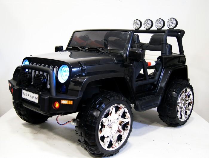 Электромобиль RiverToys Jeep M777MMЭлектромобили<br>Электромобиль RiverToys Jeep M777MM отличный внедорожник, который станет незабываемым и необычным подарком для Вашего ребенка и для Вас. Ни один не сможет устоять перед ним. Вы станете часто выходить на улицу и развиваться с каждым катанием. Все взгляды будут направленны на Вас, гарантируем. Дизайн внедорожника выглядит стильным, большим, дорогим, комфортным и надежным.  Особенности: Полноприводный. Двухместный. Световые эффекты: фары передние, задние фары, противотуманные фары, подсветка панели приборов Звуковые эффекты: музыкальный руль - звук клаксона/мелодии заводские  Пульт управления: индивидуальный (настраивается по Bluetooh) Амортизаторы: да, задние Колеса: каучуковые Скорость: Скорость вперед, одна назад. Плавный ход. Коробка переключения - автомат.   Сидение:  двухместное кожаное, два ремня безопасности. Включение: кнопка.  Медиа-панель: SD-вход, USB-вход, mp3-вход Размер собранной модели: 140x91x85см, вес: 25.95кг, макс. нагрузка: 40 кг Открывается капот, выдигается ручка сзади Аккумулятор:  12V/7Аx2  Редуктор: 4x12V-8000об. Внимание: электромобиль RiverToys поставляется в разобранном виде - необходима сборка!