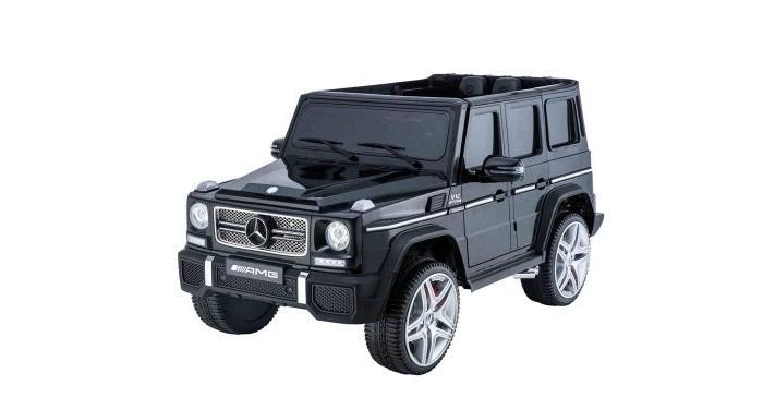 Электромобиль RiverToys Mercedes-Benz G65-AMGMercedes-Benz G65-AMGЭлектромобиль RiverToys Mercedes-Benz-G65-AMG - точная лицензионная копия реалистичного автомобиля AMG от Mercedes Benz.  Своим внешним видом, он представляет так любимый всеми детский электромобиль Гелендваген.  По сравнению с предшественниками, отличается дизайном и некоторыми функциями: наличием цифровой магнитолы, мягкого сиденья из дышащей искусственной кожи, пружинных амортизаторов для плавной езды. G65 без труда преодолеет ухабистые, грунтовые, травяные и асфальтовые покрытия дорог.  С ветерком прокатит ребёнка, создав все условия для познания автомобильного дела, приобретения навыков вождения и полезного проведения времени на свежем воздухе.  Особенности: Электромобиль G65 с кожаным сиденьем. Если Вы хотите современный, функциональный и привлекательный электромобиль для своего ребёнка, а в ответ, услышать восторженные детские отклики и радость в глазах, то Mercedes G65 Ваш выбор - в нём малыш будет чувствовать себя комфортно, безопасно и интересно проводить время часы на пролёт. Водительское кресло с цельной спинкой и подголовником, покрытое мягким чехлом из искусственной, дышащей кожи - пребывать с комфортом долгое время, сохраняя правильную осанку. Для начала эксплуатации, джип необходимо завести при помощи кнопки старта, после чего, машина издаст характерный для заводящегося мотора звук. Высокие бортики в сочетании с ремнями безопасности предотвратят выпадение даже при резких манёврах и езде по неровным дорогам. Не забудьте зафиксировать малыша при помощи ремней с центральным замком между ножек - они сделаны таким образом, что не стесняют и не ограничивают движения ребёнка. Газ и тормоз, совмещённые в одной педали под правую ногу - при нажатии электромобиль едет, а при отпускании, останавливается. 2 мотора суммарной мощностью 70 ватт и задний привод, функционирующие от батареи 12V 7Ah - батарея, двигатели, элементы проводки тщательно скрыты и не доступны ребёнку. Специальный дисплей, отобра