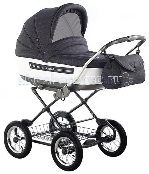 Коляска Roan Marita 2 в 1Marita 2 в 1Комбинированная детская коляска: пластиковая люлька для новорожденного с регулируемым подголовником и отдельное прогулочное кресло с регулируемой в трех положениях (сидя, лежа, полулежа) спинкой и 5 точечными ремнями безопасности. Коляска выполнена из 100% хлопчатобумажной ткани с водоотталкивающей пропиткой. Люлька с ремнями для переноски. В комплект входит отдельный чехол на ноги на прогулочный вариант. Тент на трещотке. Хромированная ручка (по высоте не регулируется). Съемные колеса на шинах. Рессорная система амортизации (металлопластик). Дополнительные пружинные амортизаторы люльки. Металлическая сетка для продуктов.  Характеристики коляски Roan Marita:  Комфортная подвеска  Регулировка высоты ручки   Пластмассовый каркас с люлькой   Регулируемая спинка в каркасе  Монтаж прогулочной коляски лицом к себе или по направлению движения   Пяти-точечные ремни безопасности   Капюшон приспособлен как к люльке, так и к прогулочной версии  В комплекте дополнительный чехол Вес в сборе - 15 кг Вес прогулочного блока - 4.5 кг Вес люльки - 5 кг Размер люльки - 82 x 37 cм Размер прогулочного блока - высота спинки x ширина x глубина: 50x34x24 см Рама разложена - 60x82x108 cм Рама сложена - 60x41x94 cм Тип колес - надувные  В комплекте:  спальная люлька (сама люлька, съемные утепленные борта,капюшон, накидка)  прогулочный блок (сам блок, капюшон, накидка на ножки, съемный бортик)  матрасик с простыней (двухсторонний кокос/войлок)  металлическая корзина для продуктов  рама, колеса  сумка для мамы  инструкция по эксплуатации на русском языке  гарантийный талон на срок 6 месяцев<br>