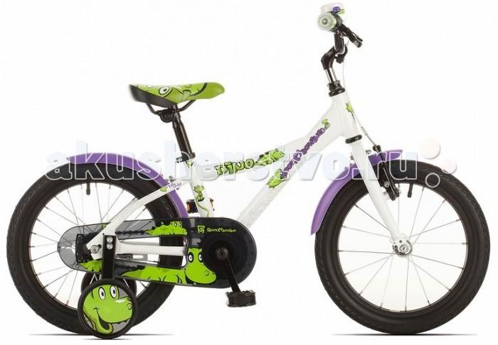 Велосипед двухколесный Rock Machine Dino 16Dino 16Детский велосипед Rock Mashine Dino 16 рассчитан на детей от 3 до 6 лет. На велосипеде есть все чтобы ваши дети могли безопасно кататься. Велосипед оборудован защитными крыльями не дающими испачкаться, защитой цепи и дополнительными колесами для обучения, которые легко снимаются при необходимости. Что ещё нужно для приятного катания Вашего малыша! Форма рамы продумана таким образом, чтобы посадка была максимально удобной для ребенка. Яркая окраска с рисунками долго будет радовать вас и ваших детей.  Технические данные: Рама - Custom Alu 6061.T6, 9 Вилка - steel rigid Рулевая колонка - Подшипники рулевой колонки - VP-732 Руль - steel rised Вынос - steel HF Подседельный штырь - steel LSP8 Седло - Velo VL-5073 Педали - Marvi SP-481SB Тормоза - Promax BL-63G/Saccon alloy v-brake Кассета - 16T Цепь - KMC Z410 Система/Шатуны - Lide DJ521 28T Каретка - Thun Twist JIS Обода - Weinmann VP21 16 Втулки - ONE KT Спицы - Sapim galvanized Покрышки - Impac StreetPac 16x1.75 Вес - 8,5 кг Диаметр колес - 16 Максимальная нагрузка - 50 кг Рекомендуемый рост - 98 см<br>