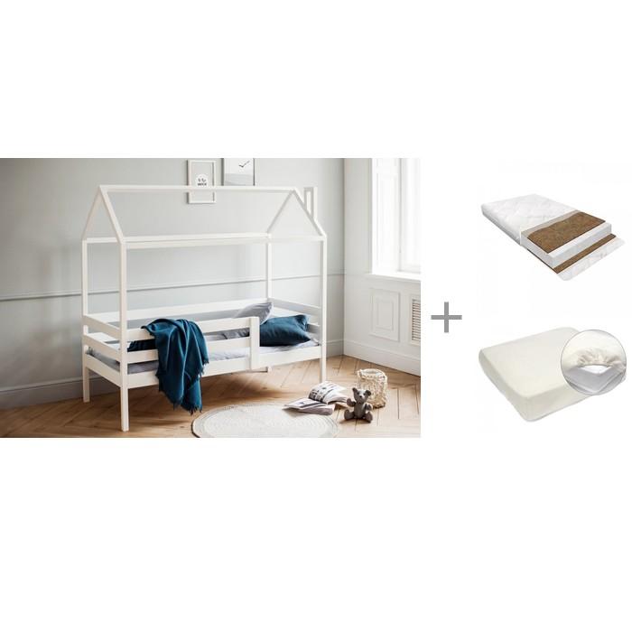 Кровати для подростков RooRoom Домик с 1 ограничителем 140х70, Матрас Baby Elite Optima 140х70х13 и Наматрасник Rainproof Comfort 140x70