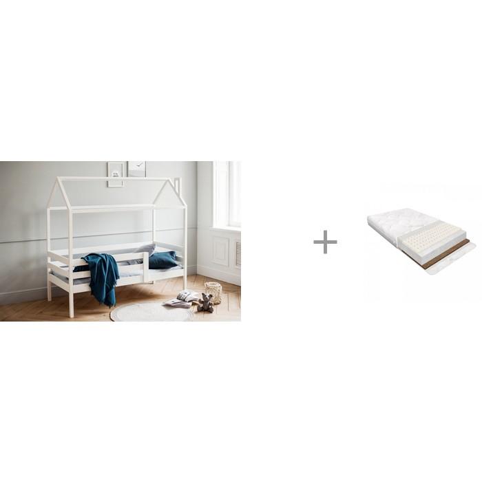Кровати для подростков RooRoom Домик с ограничителем 160х70 и Матрас Baby Elite Kinder Balance
