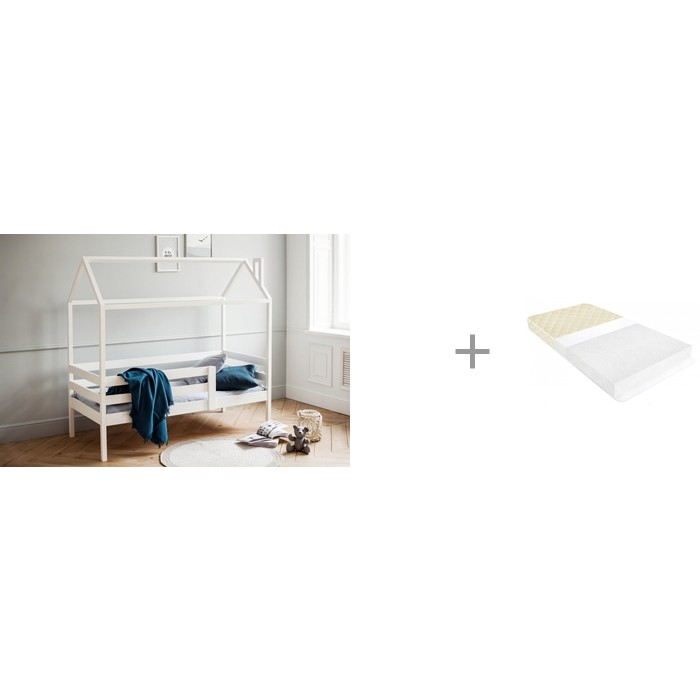 Купить Кровати для подростков, Подростковая кровать RooRoom Домик с 1 ограничителем 160х70 и Матрас BabyElite Standart Eco 160х70х10 см