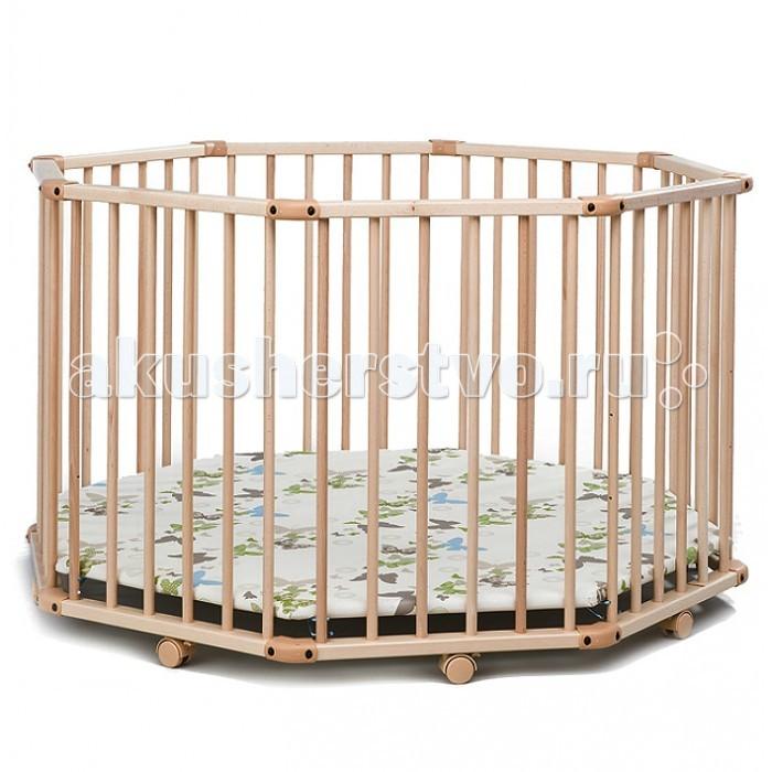 Манеж Geuther Octo-Park НатуральныйOcto-Park НатуральныйМанеж Geuther Octo-Park Натуральный  Манеж Geuther Octo-Park 2228NA Натуральный настоящий восьмиугольный рай для малыша! Посудите сами: он компактный — в комнате хватит места для всех, он просторный — малыш сможет в нем не только ползать, но и «пригласить» к себе большое количество игрушек.   В манеже хватит места даже для первого радушно принятого маленького гостя — друга или подруги вашего малыша. Благодаря восьми удобным колесикам Octo-Parc очень мобилен и тем самым удобен и практически неприхотлив, ведь он легко «переберется» с места на место. Мягкая обивка пола и трехуровневое регулирование по высоте дополняет великолепный портрет данного манежа полезными штрихами.  Особенности: большая площадь для игр  регулируемое по высоте дно - 3 уровня  дно покрыто высокопрочным непромокаемым материалом на мягкой основе  уютное спальное место создается благодаря дополнительному бамперу из мягкой ткани, защищающему от сквозняка  фиксируемые поворотные колеса со стояночным тормозом  сделан из экологически чистой древесины  быстро собирается и разбирается без применения инструментов  в собранном виде компактен - легко хранить   Вес: 24 кг  Размеры: 113 х 113 см  Высота: 86 см<br>