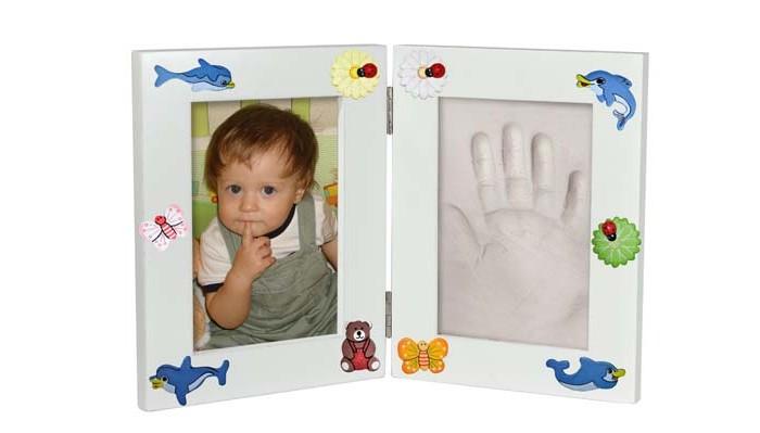 Фотоальбомы и рамки Ручки&Ножки Рамочка Принт двойная 32х21 отпечаток ручки ножки вашего малыша подарок из детства семейная реликвия цвет розовый