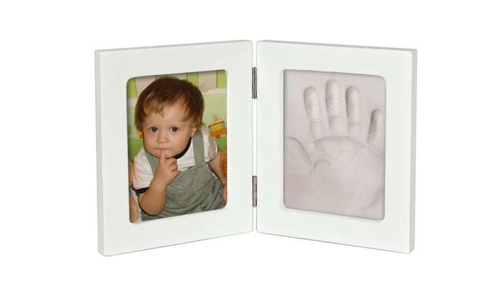 Фотоальбомы и рамки Ручки&Ножки Рамочка Принт двойная маленькая 25х15 отпечаток ручки ножки вашего малыша подарок из детства семейная реликвия цвет розовый