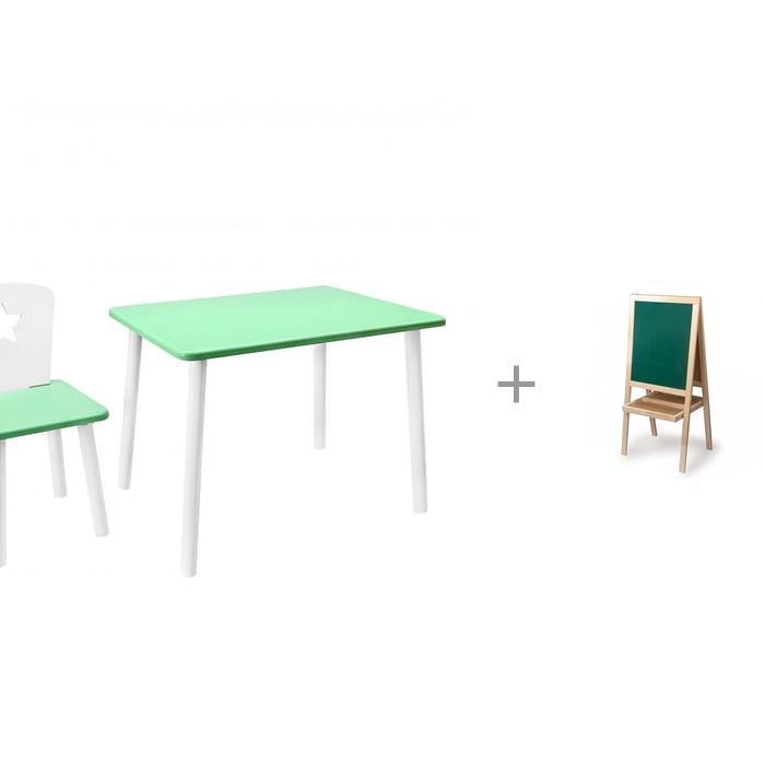 Купить Детские столы и стулья, РусЭкоМебель Набор детской мебели Eco Star и доска-мольберт Brauberg магнитно-маркерная для мела двусторонняя 56х67 см
