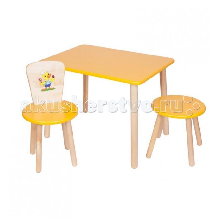 РусЭкоМебель Набор мебели Эко №2Набор мебели Эко №2Русэкомебель Набор мебели эко №2 для маленьких детей. Может быть использован для серьезных занятий (чтения, письма и проч.), творчества (рисунка, лепки и т.д.), кроме того, его легко комбинировать с другими столами в комнате приема пищи. Нежный цвет доминирует, только ножки предметов мебели и спинка стульчика оставлены не окрашенными.   Состав набора стандартный: стол с круглой просторной столешницей, деревянный стульчик со спинкой, табурет. Внутренняя часть спинки стульчика украшена симпатичным акриловым рисунком.   Вся мебель безвредна, так как для ее изготовления применялось только натуральное дерево, качественные краски и стойкий лак. На каждом этапе производства изделия подвергались строгому контролю на качество.  Габариты: Высота стола: 52 см Высота стульчика: 32 см Диаметр столешницы - 60 см Диаметр сидения стульчиков: 31 см Вес стола: 5.4 кг Вес стула: 2.2 кг  Вес Табурета: 1.8 кг Выдерживает: 100 кг<br>