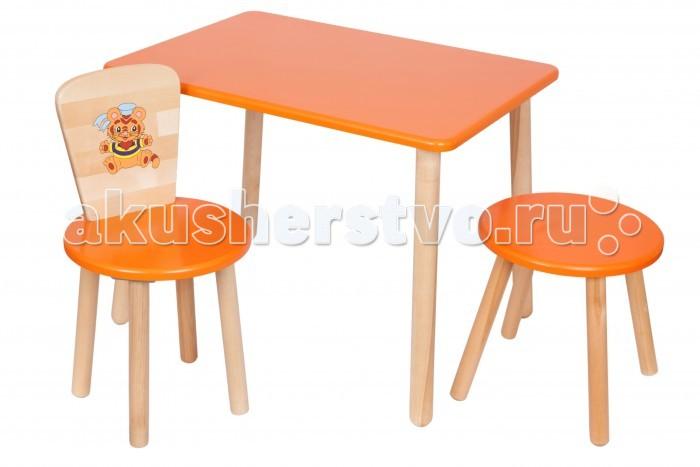 РусЭкоМебель Набор мебели Эко №2Набор мебели Эко №2Русэкомебель Набор мебели эко №2 для маленьких детей. Может быть использован для серьезных занятий (чтения, письма и проч.), творчества (рисунка, лепки и т.д.), кроме того, его легко комбинировать с другими столами в комнате приема пищи. Нежный цвет доминирует, только ножки предметов мебели и спинка стульчика оставлены не окрашенными.   Состав набора стандартный: стол с круглой просторной столешницей, деревянный стульчик со спинкой, табурет. Внутренняя часть спинки стульчика украшена симпатичным акриловым рисунком.   Вся мебель безвредна, так как для ее изготовления применялось только натуральное дерево, качественные краски и стойкий лак. На каждом этапе производства изделия подвергались строгому контролю на качество.  Габариты: Возраст: от 2 до 7 лет; Материал: береза, сидение - МДФ Высота: стол - 52 см, стульчики - 32 см Размер столешницы: 70*50 см.; Диаметр сидения стульчиков: 31 см Вес: стол - 5,4 кг, стул - 2,2 кг, табуретка - 1,8 кг Выдерживает: 100 кг<br>