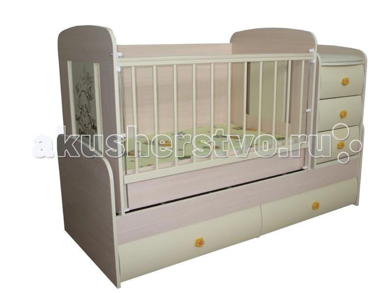 Кроватка-трансформер Glamvers Multy VipMulty VipКроватка-трансформер Glamvers Multy Vip  Кроватка трансформируется в подростковую кровать (размер 1600х650)+стол+комод.  Особенности: кровать-трасформер 3 в 1,материал ЛДСП+МДФ+бук в комплект входит - ортопедический матрас + пеленальный столик маятниковый механизм качания решетка опускается 2 положения.  ПВХ накладки  два уровня положения ложа возможность установить комод как лева так и справа кровать для подростка до 12 лет  Размер кроватки для новорожденных: 110х64 Размер кроватки для подростков : 160х65 Пеленальная доска 38*70см  Преимущества: Регулируемая боковина. Бортик кроватки подвижен, что облегчает матери доступ к ребенку. Механизм спуска и подъема с надежной фиксацией. Накладки ПВХ, которые безопасны для ребенка, также предохраняют поверхность кроватки от повреждений. Запатентованный механизм маятника. Детские антитравматические резиновые ручки с детским рисунком. Матрас в комплекте. Выдвижные 2 нижних шкафа, с роликовыми направляющими. Комод: 3 выдвижных ящика. Кроватка трансформируется в письменный стол + подростковая кровать + пеленальный столик-комод. Гнутые крашенные фасады МДФ молочного цвета. Цвет матраса может отличаться от представленного на фото!<br>