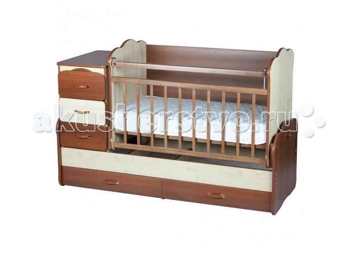 Кроватка-трансформер Yarri Оле Лукойе маятникОле Лукойе маятникКроватка-трансформер Yarri Оле Лукойе маятник  Детская кроватка-трансформер Yarri Оле Лукойе сочетает в себе кроватку для новорожденного, подростковую кровать и трансформируется в письменный стол.   Особенности: Кроватка для новорожденного, которая со временем трансформируется в подростковую кровать и столик-парту! Детская кроватка с маятниковым механизмом поперечного качания, (маятник оборудован прочным стопором, поэтому малыш не сможет сам раскачать кроватку); Ложе кроватки реечное, что способствует ортопедическому эффекту и обеспечивает отличную вентиляцию для матраса;  2 уровня крепления боковины; Ложе регулируется на 4 уровня по высоте; На боковых стенках кроватки предусмотрены защитные накладки; Выдвижные ящики для хранения детских вещей: 3 в комоде и 2 под днищем; Задняя стенка кроватки создана в виде фигурной монолитной плиты, что исключает возможность сквозняков, а также создает ребенку ощущение уюта и безопасности. При этом в плите предусмотрены отверстия для крепления защитного бортика (в дальнейшем на отверстия ставятся заглушки, которые входят в комплект); По мере роста Вашего малыша кроватка трансформируется в подростковую кровать (ложе кроватки становится 170х60см) и отдельно стоящую стол-парту с 3 ящиками; В отличие от схожих моделей, преобразуется в полноценный письменный стол стандартных размеров, подходящий даже для школьника (сходные модели трансформируются в очень маленький столик); Кровать-трансформер Вилли-Билли служит ребенку от рождения до 12 - 14 лет; Комод можно установить слева или справа по Вашему выбору. При этом переставить комод просто, не нужно перебирать всю кровать;  Размеры комода: 40х60 см. Внешние габариты стола-парты: 123х73х67.  Размер столешницы: 120х70<br>