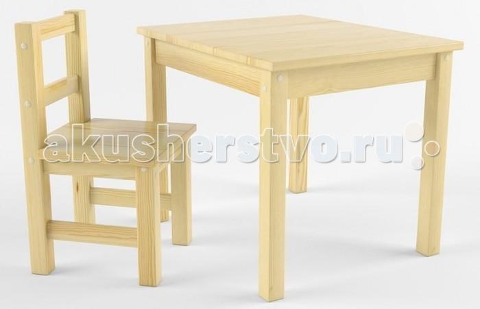 Купить Детские столы и стулья, Русские игрушки Набор детской мебели (стол, стул) деревянный покрыт лаком
