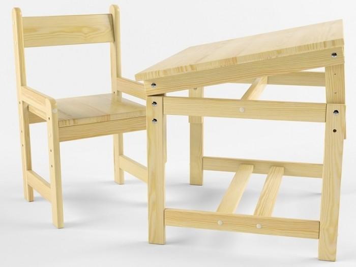 Купить Детские столы и стулья, Русские игрушки Растущий набор (стол-парта, стул) деревянный не окрашен