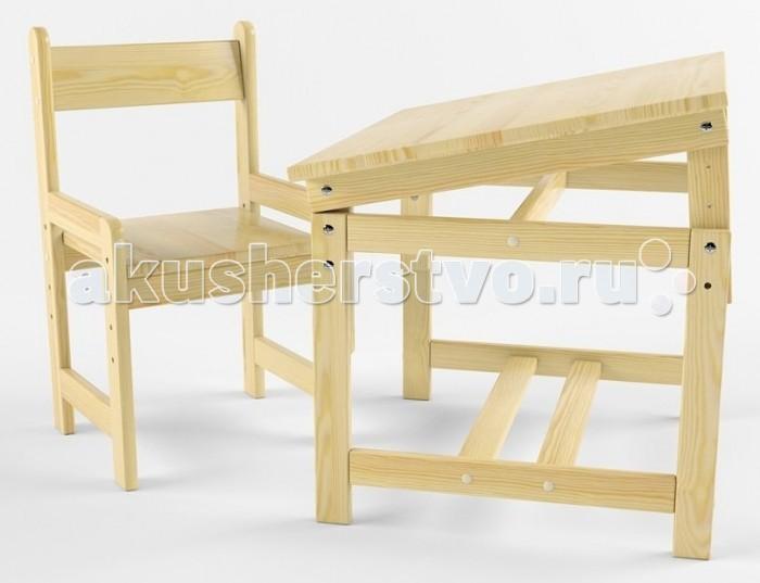 Купить Детские столы и стулья, Русские игрушки Растущий набор (стол-парта, стул) деревянный покрыт лаком