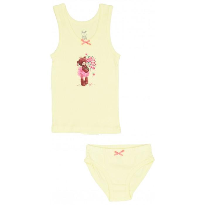 Белье и колготки RuZkids Комплект для девочки (майка, трусики) Мишка с букетом белье и колготки crockid комплект для мальчика майка и трусики к 1100