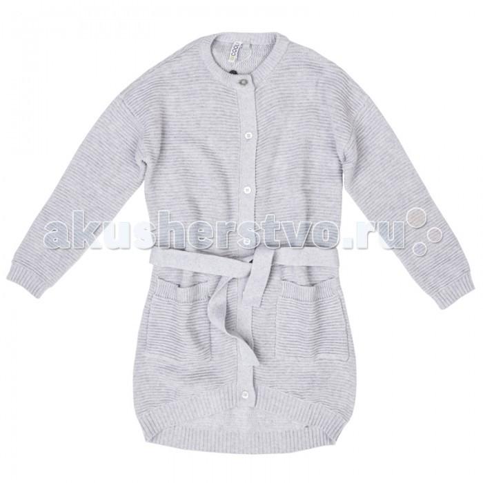 Куртки, пальто, пуховики S'cool Пальто трикотажное для девочек Городские огни 374005