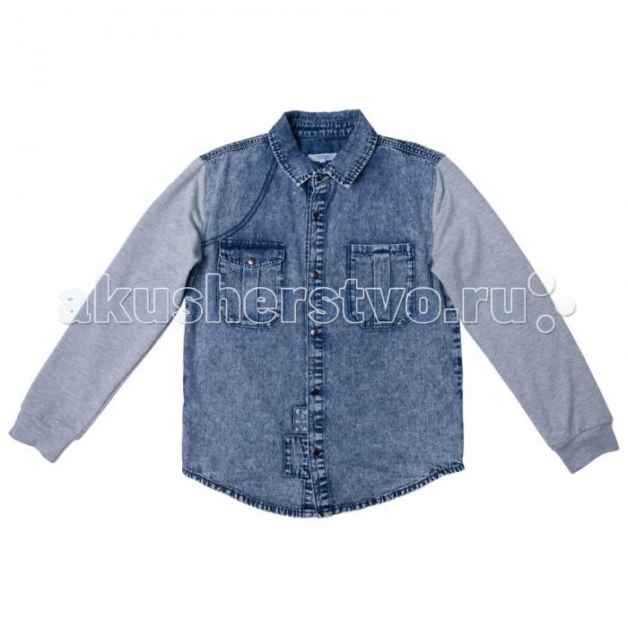 Блузки и рубашки S'cool Рубашка джинсовая для мальчика Мотоклуб 173010 цена 2016
