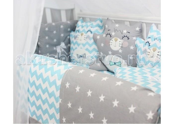 Картинка для Комплект в кроватку ByTwinz Спящие игрушки Котики (12 предметов)