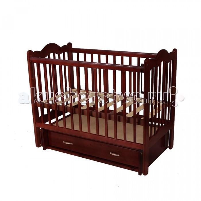 Детская кроватка Счастливый малыш Дюймовочка (поперечный маятник)Дюймовочка (поперечный маятник)Детская кроватка Счастливый малыш Дюймовочка (качалка/поперечный маятник) предназначена для новорожденных.   Особенности: Регулируемое основание кроватки – с двумя уровнями установки (которые возможно чередовать в зависимости от потребностей вашего ребенка). Поперечный маятниковый механизм качания, который можно фиксировать (приводить в движение, когда малыш засыпает и останавливать тогда, когда ребенку нужно спокойствие). Автостенка (механизм опускания передней стенки). Кроватка оснащена удобным выдвижным закрытым ящиком с двумя секциями, в котором можно хранить распашонки, памперсы, крема и салфетки, – есть пространство для постельного белья и небольшого матрасика. На боковых стенках расположены защитные боковые накладки из силикона – с ними ваш ребенок никогда не повредит свои зубки.  Размеры (ДхШхВ): 125 х 70 х 104 см<br>