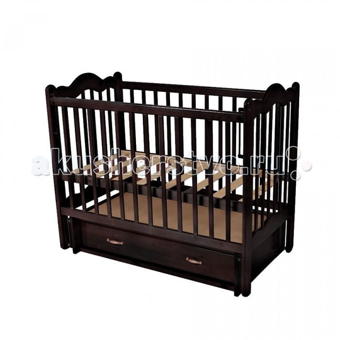 Детская кроватка Счастливый малыш Дюймовочка (поперечный маятник)Дюймовочка (поперечный маятник)Детская кроватка Счастливый малыш Дюймовочка (качалка/поперечный маятник) предназначена для новорожденных.   Особенности: Регулируемое основание кроватки – с двумя уровнями установки (которые возможно чередовать в зависимости от потребностей вашего ребенка). Поперечный маятниковый механизм качания, который можно фиксировать (приводить в движение, когда малыш засыпает и останавливать тогда, когда ребенку нужно спокойствие). Автостенка (механизм опускания передней стенки). Кроватка оснащена удобным выдвижным закрытым ящиком с двумя секциями, в котором можно хранить распашонки, памперсы, крема и салфетки, – есть пространство для постельного белья и небольшого матрасика. На боковых стенках расположены защитные боковые накладки из силикона – с ними ваш ребенок никогда не повредит свои зубки.<br>