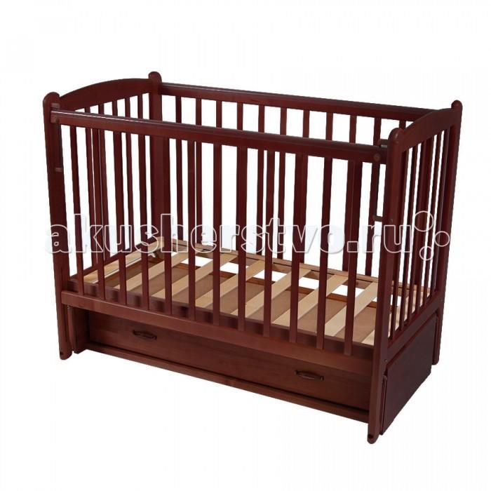 Детская кроватка Счастливый малыш Кроха-2 (продольный маятник)Кроха-2 (продольный маятник)Детская кроватка Счастливый малыш Кроха-2 (продольный маятник) предназначена для новорожденных.   Особенности: Регулируемое основание кроватки – с двумя уровнями установки (которые возможно чередовать в зависимости от потребностей вашего ребенка). Продольный маятниковый механизм качания, который можно фиксировать (приводить в движение, когда малыш засыпает и останавливать тогда, когда ребенку нужно спокойствие). Автостенка (механизм опускания передней стенки). Кроватка оснащена удобным выдвижным закрытым ящиком с двумя секциями, в котором можно хранить распашонки, памперсы, крема и салфетки, – есть пространство для постельного белья и небольшого матрасика. На боковых стенках расположены защитные боковые накладки из силикона – с ними ваш ребенок никогда не повредит свои зубки.<br>