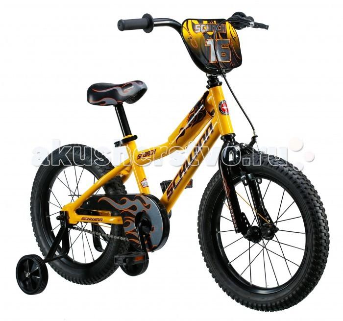 Велосипед двухколесный Schwinn детский Scorch 16детский Scorch 16Schwinn Велосипед детский Scorch 16 1 скорость, колёса 16, выполнен в желто-черном цвете – вот о чем мечтает Ваш малыш! Седло и руль регулируются по высоте, и велосипед может расти вместе с ребёнком. Мягкая накладка на верхней трубе защитит от травм во время катания. Два вида тормоза, ручной и ножной, позволяют Вашему ребёнку постепенно переходить на взрослые стандарты.  Полноразмерная защита цепи предохраняет одежду от загрязнения. В комплекте идут дополнительные колёса для обучения езде на начальном этапе катания. Schwinn® SmartStart - новая концепция в разработке детских велосипедов, учиться кататься стало проще и веселее!  Особенности: • Рама Schwinn Smart Start • Надёжные ободные и ножные тормоза • Регулировка высоты седла без инструментов • Регулировка руля по высоте и наклону • Полноразмерная защита цепи • Дополнительные колёса • Мягкая накладка на верхней трубе • Колёса 16 • Велосипед для детей 4-6 лет • Для роста 100-115см<br>