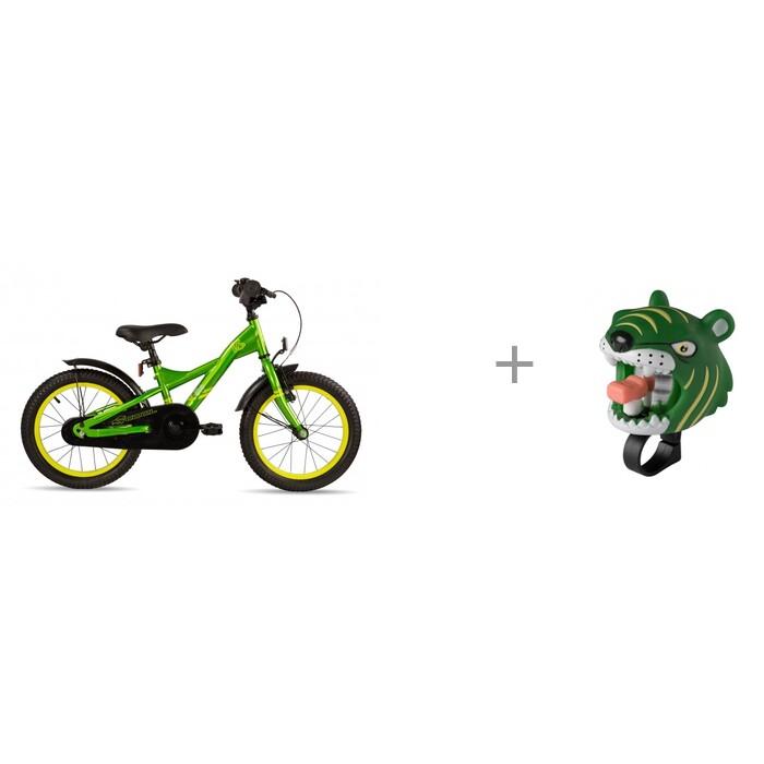 Велосипед двухколесный Scool XXlite 16 steel и звонок Tiger Crazy Safety