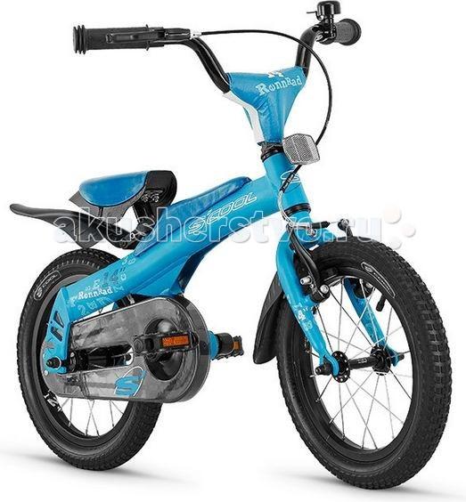 Беговел Scool 2 в 1 Rennrad 14 (велосипед)2 в 1 Rennrad 14 (велосипед)Уникальный велосипед и беговел (велобалансир 2 в 1) Rennrad 14 для детей от 2-х лет и ростом ребенка от 105 см.   Особенностью данного велосипеда является то что его можно из беговела собрать в полноценный велосипед с ножным тормозом и одной передачей. В качестве велосипеда есть все необходимое: кожух на цепь, крылья, подъем руля.   Алюминиевая прочная рама дает несравненно малый вес. Благодаря большим колесам с широкой резиной ребенку без труда можно научиться управлять этим беговелом.  Велосипед укомплектован крыльями, звонком. Для безопасности Вашего малыша велосипед оборудован полноценным защитным щитком цепи и мягкой прокладкой, установленной на вынос руля.   Рама велосипеда - Алюминий Вилка - Алюминий Количество скоростей - 1-скорость, съемный педальный блок Передний тормоз - V-brake Задний тормоз - ножной Покрышки - Накачиваемые с рефлектором логотипом 14 Седло - SCOOL Junior Safety grip<br>